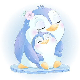Mignon petit pingouin mère et bébé