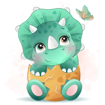 Mignon Petit Portrait De Dinosaure Avec Effet Aquarelle Vecteur Premium