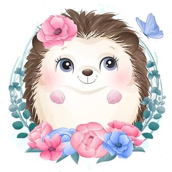 Mignon petit portrait de hérisson avec floral