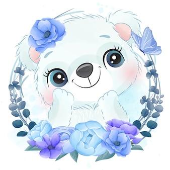 Mignon petit portrait d'ours polaire avec floral