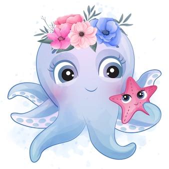 Mignon petit poulpe jouant avec une étoile de mer