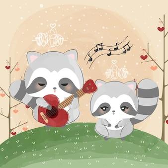 Mignon petit raton laveur chante une chanson d'amour