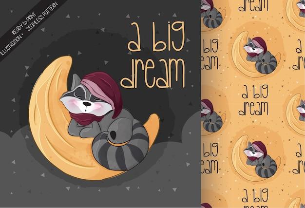Mignon petit raton laveur dormant sur l'illustration de la lune illustration de l'arrière-plan