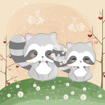 Mignon petit raton laveur et queue de fleur