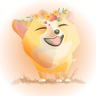 Mignon petit renard ou chiot sourit. illustration vectorielle de personnage de dessin animé. peut être utilisé pour la carte de voeux de conception d'impression utilisée pour la conception d'impression, la bannière, l'affiche, le modèle de flyer.