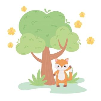 Mignon petit renard fleurs arbre pré animaux de dessin animé dans une illustration vectorielle de paysage naturel