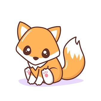 Mignon petit renard orange assis