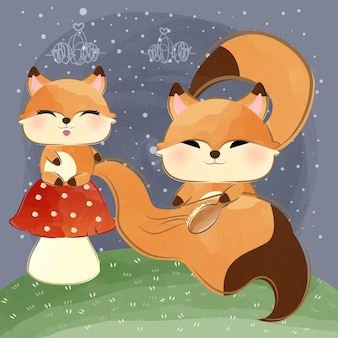 Mignon petit renard se brossant la queue