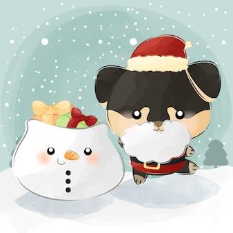 Mignon petit sac de bonhomme de neige et père noël