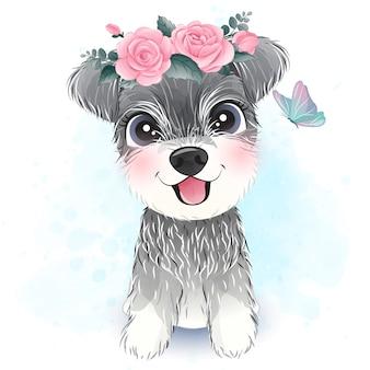 Mignon petit schnauzer avec illustration florale