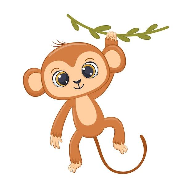 Mignon petit singe accroché à la liane cartoon