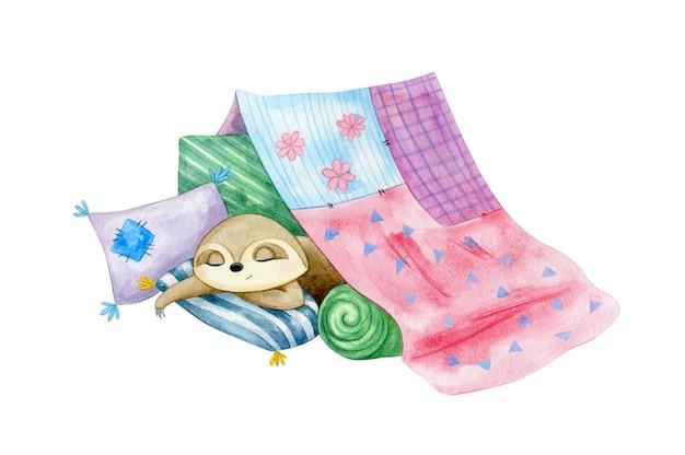 Mignon petit sommeil paresseux dans un château d'oreillers. illustration de caractère aquarelle
