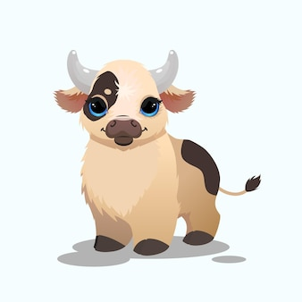 Mignon petit taureau en illustration de style dessin animé