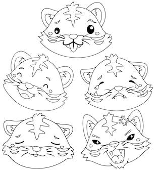 Un mignon petit tigre exprimant de nombreuses émotions en noir et blanc
