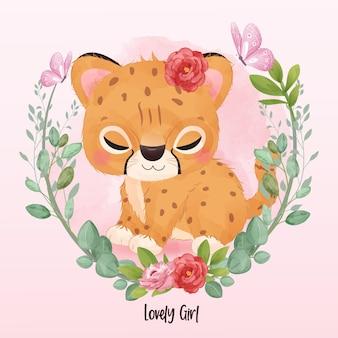 Mignon petit tigre en illustration aquarelle