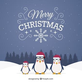 Mignon pingouins fond de noël