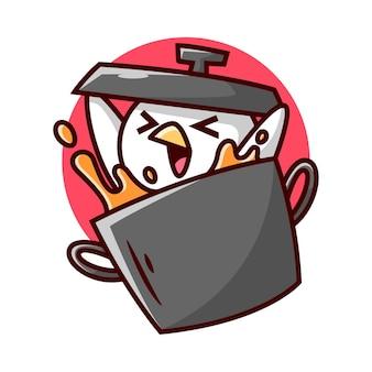 Mignon poulet dans un grand pot noir souriant et tenant le couvercle du pot design de mascotte en carton de haute qualité
