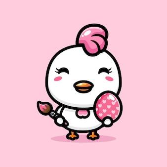 Mignon poulet avec décoration joyeux oeuf de pâques