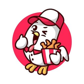 Mignon poulet avec uniforme apporte un seau de poulet frit de haute qualité conception de mascotte de bande dessinée