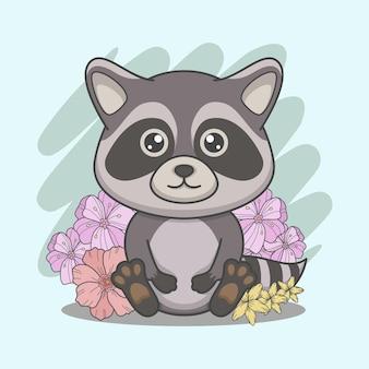 Mignon raton laveur assis avec des fleurs