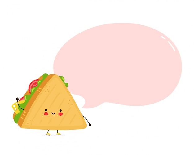 Mignon sandwich drôle heureux avec bulle de dialogue. illustration de style dessiné main personnage de dessin animé