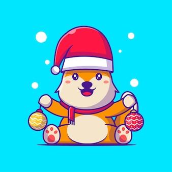Mignon santa fox avec des illustrations de dessins animés de boules de noël