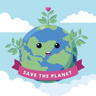 Mignon sauver le concept de la planète