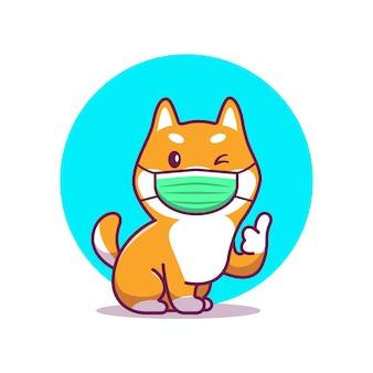 Mignon shiba inu porter masque cartoon icône illustration. caractère de mascotte animale. concept icône santé animale blanc isolé