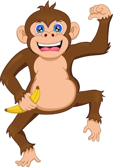 Mignon, singe, dessin animé, tenue, banane