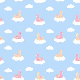 Mignon sleep llama motif sans couture