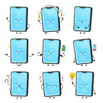 Mignon smartphone heureux, collection de jeux de caractères de téléphone portable. icône d'illustration de caractère kawaii de dessin animé de ligne plate de vecteur. isolé. appel téléphonique, ensemble de personnages de visage de smartphone