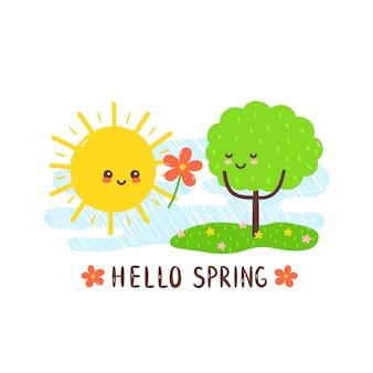 Mignon soleil souriant heureux donne des fleurs à l'arbre. carte de la journée internationale de la forêt. main, dessin, kawaii, style, caractère, illustration, carte, desgin., isolé, blanc., soleil, amour, forêt