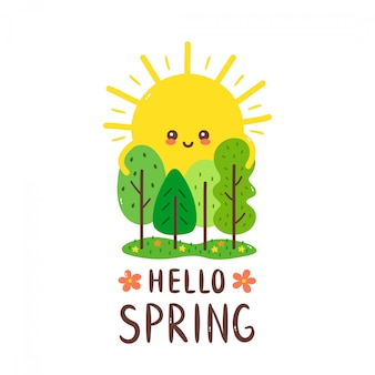 Mignon soleil souriant heureux embrasse les arbres. bonjour carte de printemps. main dessin style illustration carte desgin. isolé sur blanc. printemps, soleil, forêt