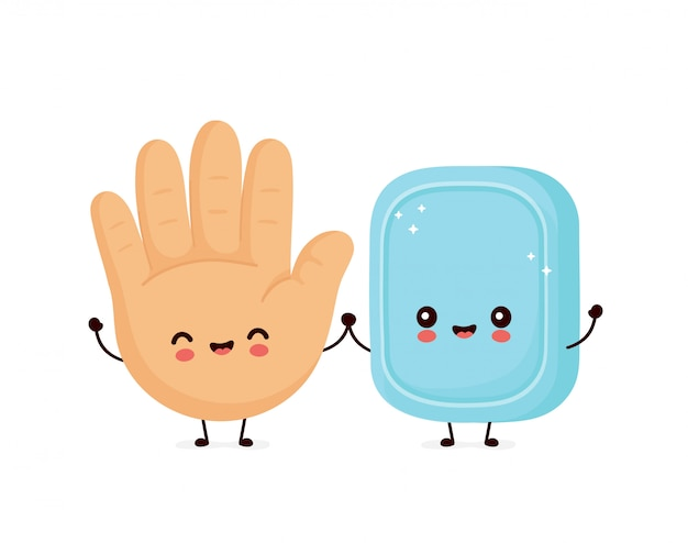 Mignon sourire heureux main humaine et savon.