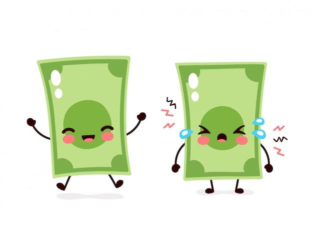 Mignon sourire heureux et triste argent billet de cri. conception d'icône illustration de personnage de dessin animé plat. isolé sur fond blanc. billet d'un dollar, hausse et baisse de l'argent, concept de billets de banque