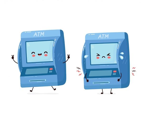 Mignon sourire heureux et triste atm atm. illustration de personnage de dessin animé plat isolé sur fond blanc. guichet automatique, concept de caractère atm