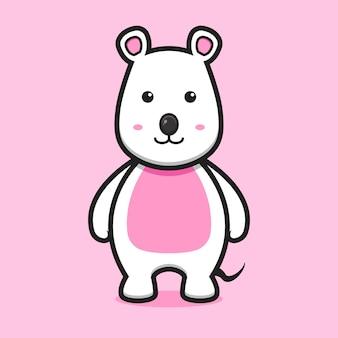Mignon, souris blanche, animal, mascotte, caractère, dessin animé, vecteur, icône, illustration, animal, mascotte, concept