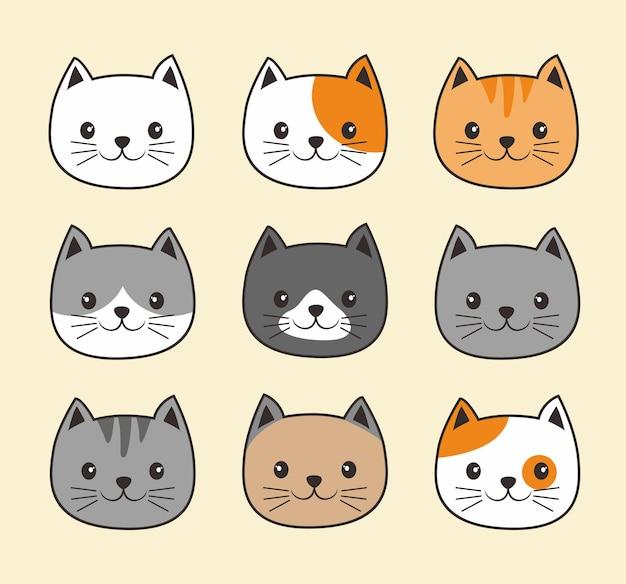 Mignon, tête, chat, chaton, dessin animé, kawaii