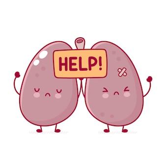 Mignon triste personnage d'organe de poumons humains malades tenir signe d'aide