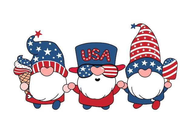 Mignon trois gnomes américains 4 juillet été thème dessin animé doodle illustration vectorielle