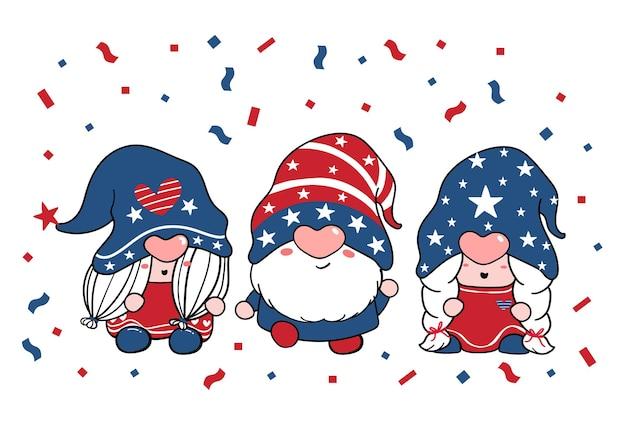 Mignon trois trio gnome jour de l'indépendance 4 juillet