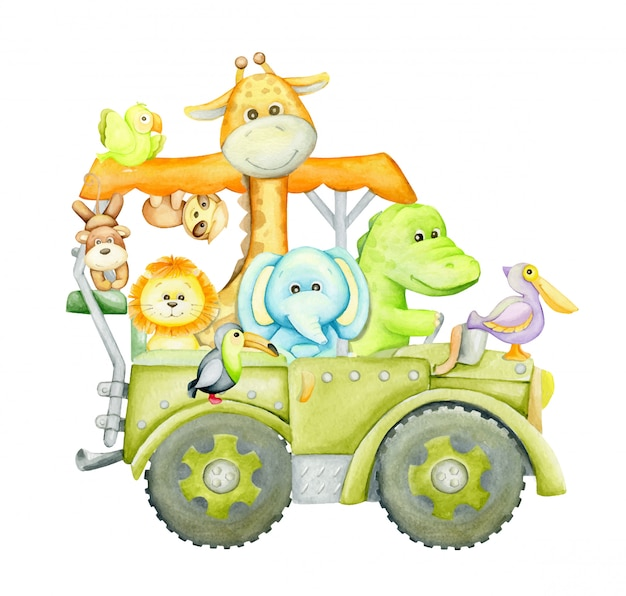 Mignon tropical, animal, voyage en suv. clipart aquarelle, en style cartoon.