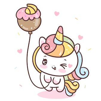 Mignon unicornio tenant un ballon cupcake