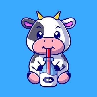 Mignon vache boire du lait dessin animé vector icon illustration. concept d'icône de boisson animale isolé vecteur premium. style de dessin animé plat