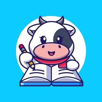 Mignon, vache, écriture, livre, à, crayon, dessin animé
