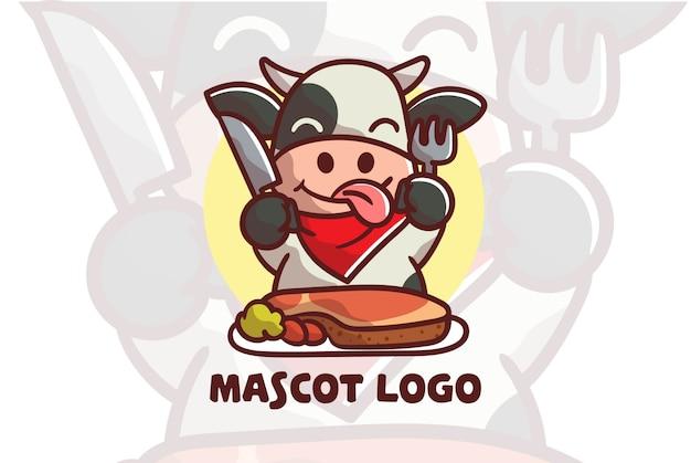 Mignon, vache, manger, steak, mascotte, logo