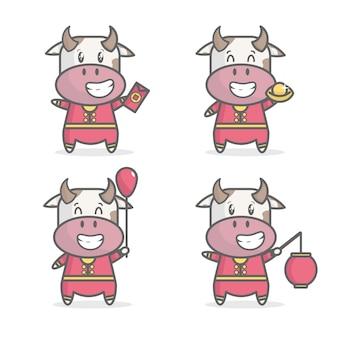 Mignon vache nouvel an chinois