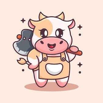Mignon, vache, tenue, hache, dessin animé