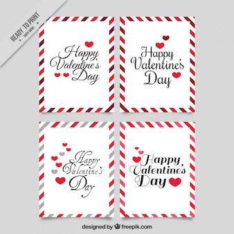 Mignon valentines cartes vintage avec des bordures décoratives