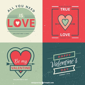 Mignon valentines étiquettes de jour